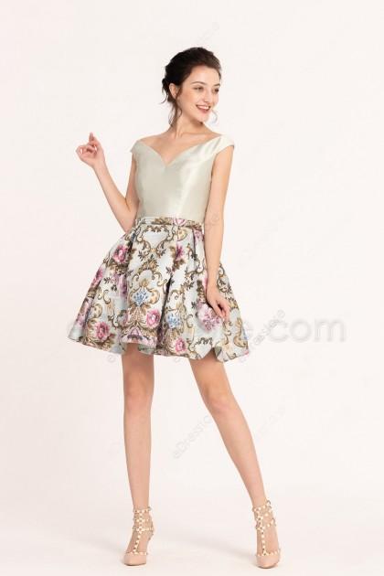 Off the Shoulder Floral Short Prom Dresses Homecoming Dresses