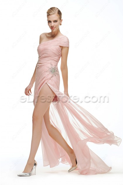 One Shoulder Pearl Pink Maid of Honor Dresses