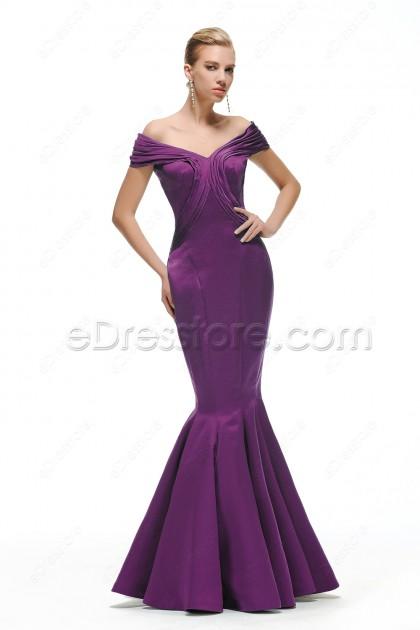 Off the Shoulder Mermaid Dark Purple Bridesmaid Dresses