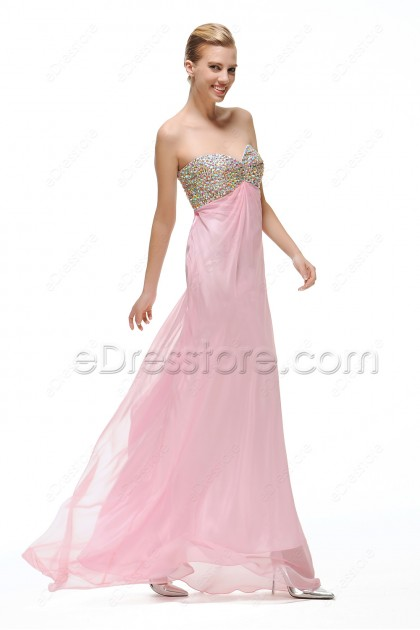 Pink Cut Out Crystal Prom Dresses