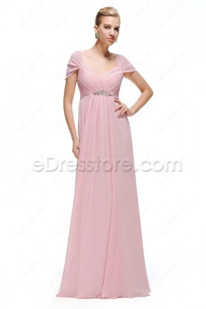 Sweetheart Pink Maternity Bridesmaid Dress Capped Sleeves