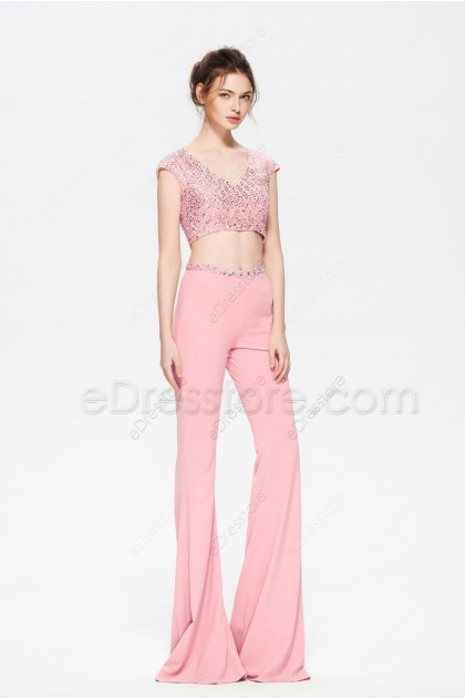 Pink Two Piece Homecoming Dresses Pantsuit Backless