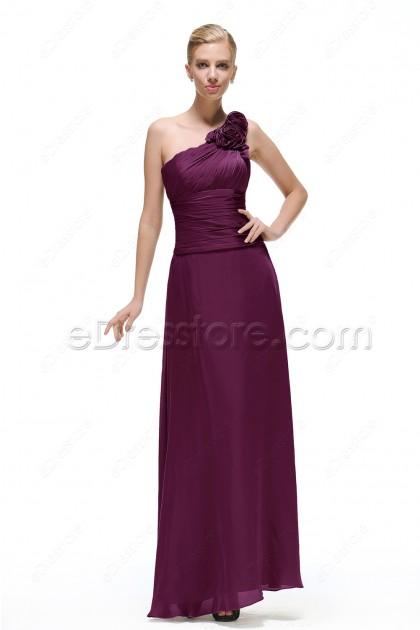 Flower One Shoulder Plum Satin Bridesmaid Dresses