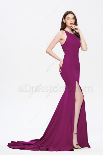 Plum Mermaid Stretch Slitted Homecoming Dresses Long Cut Out