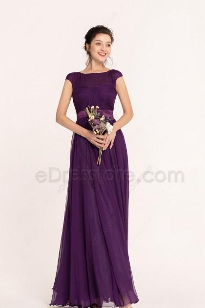 Purple Elegant Modest Bridesmaid Dresses Cap Sleeves