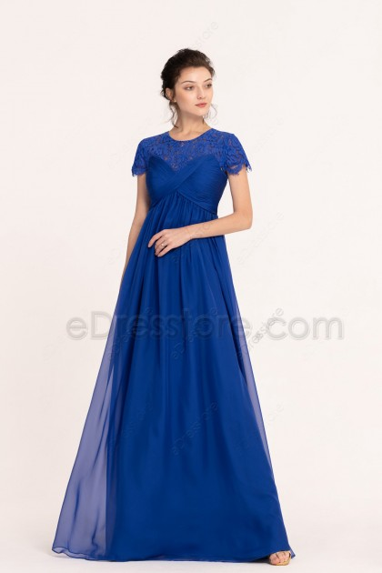 Sapphire Blue Modest Maternity Bridesmaid Dresses Short Sleeves