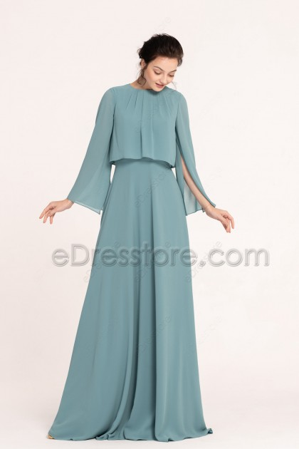 Seaglass Green Popover Modest Bridesmaid Dresses Long Sleeves