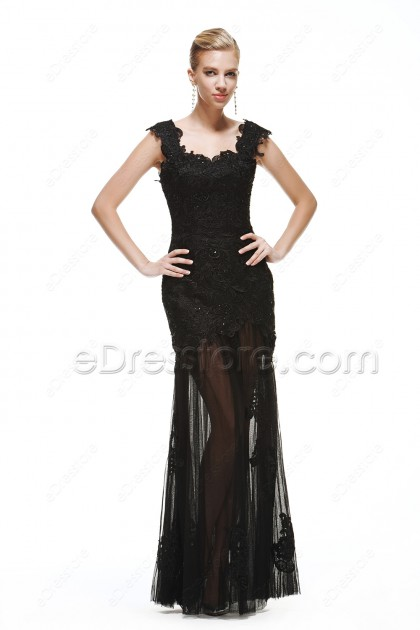 Black lace Sparkle See Through Prom Dresses with Straps