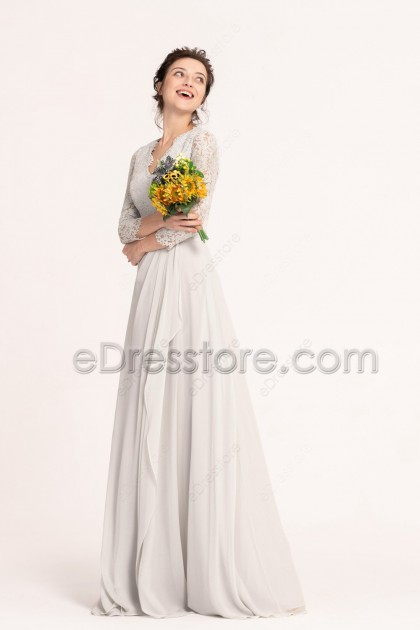 Silver Grey Modest Lace Bridesmaid Dresses Long Sleeves