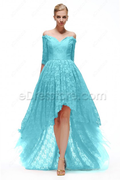 Sky Blue High Low Bridesmaid Dresses with Sleeves