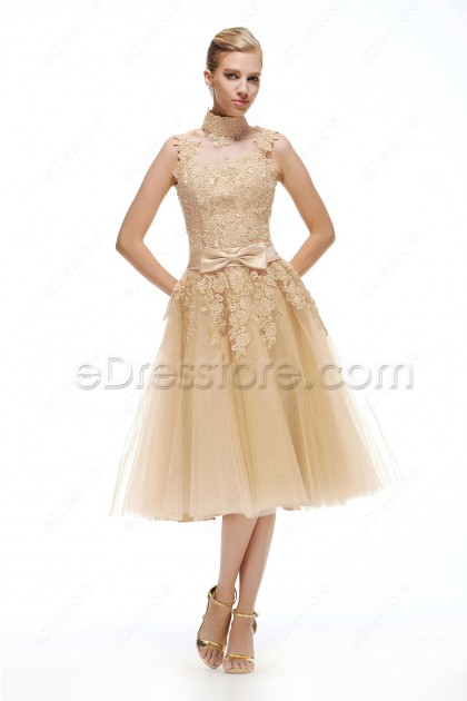 Champagne Vintage Bridesmaid Dresses Tea Length
