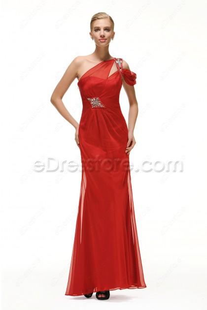 One Shoulder Trumpet Red Prom Dress