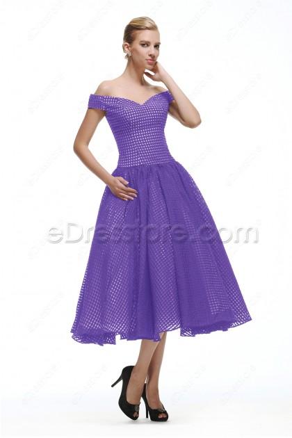 Off the Shoulder Vintage Lavender Cocktail Dress Tea Length