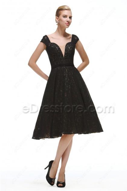 Vintage Black Lace Prom Dresses Tea Length
