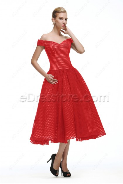 Vintage Red Prom Dresses Tea Length Homecoming Dresses