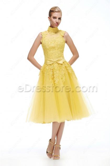 High Neck Yellow Evening Dress Tea Length