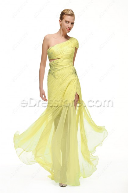 One Shoulder Yellow Evening Gown with Slit