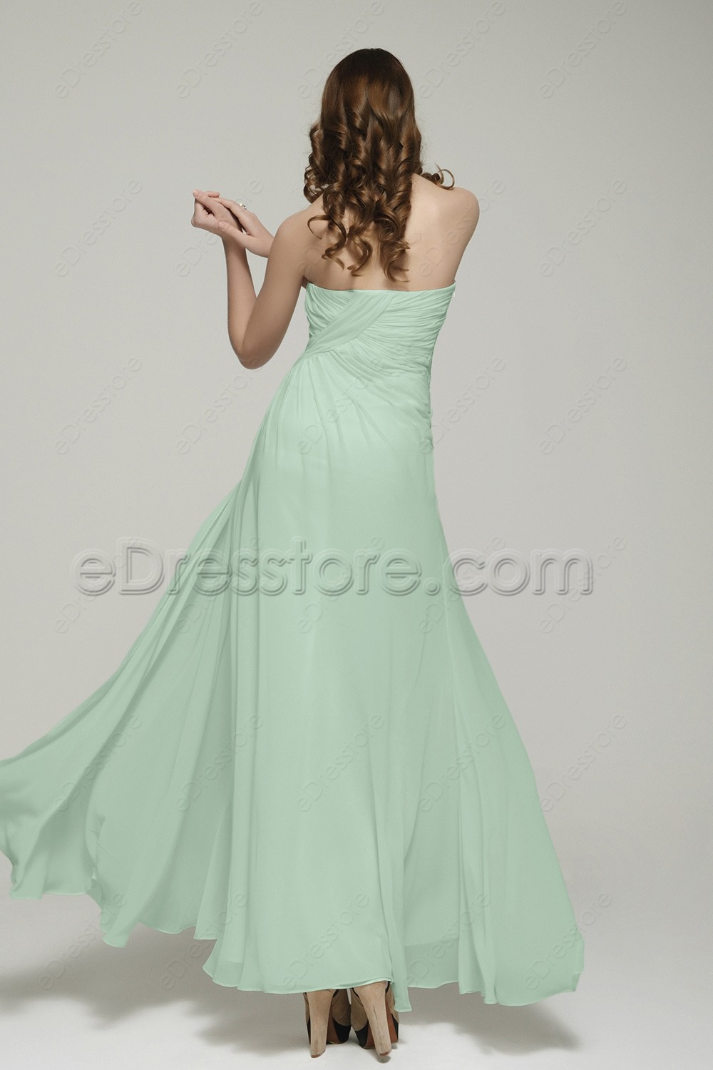 Pastel green maid of honor dresses sweetheart bridesmaid dress for Pastel green wedding dress