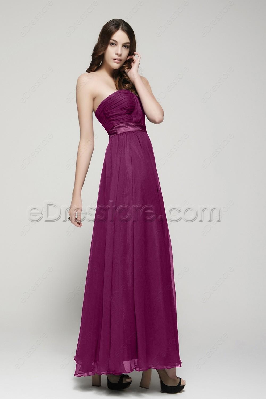 Strapless magenta bridesmaid dresses for Magenta dress for wedding