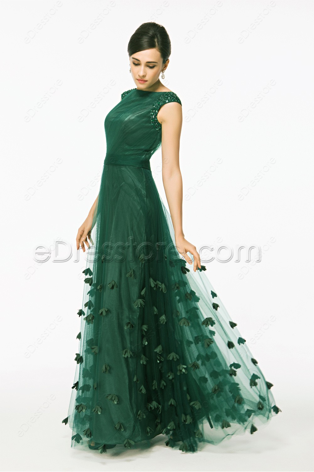 Modest Cap Sleeves Forest Green Prom Dress With Hand Sewn