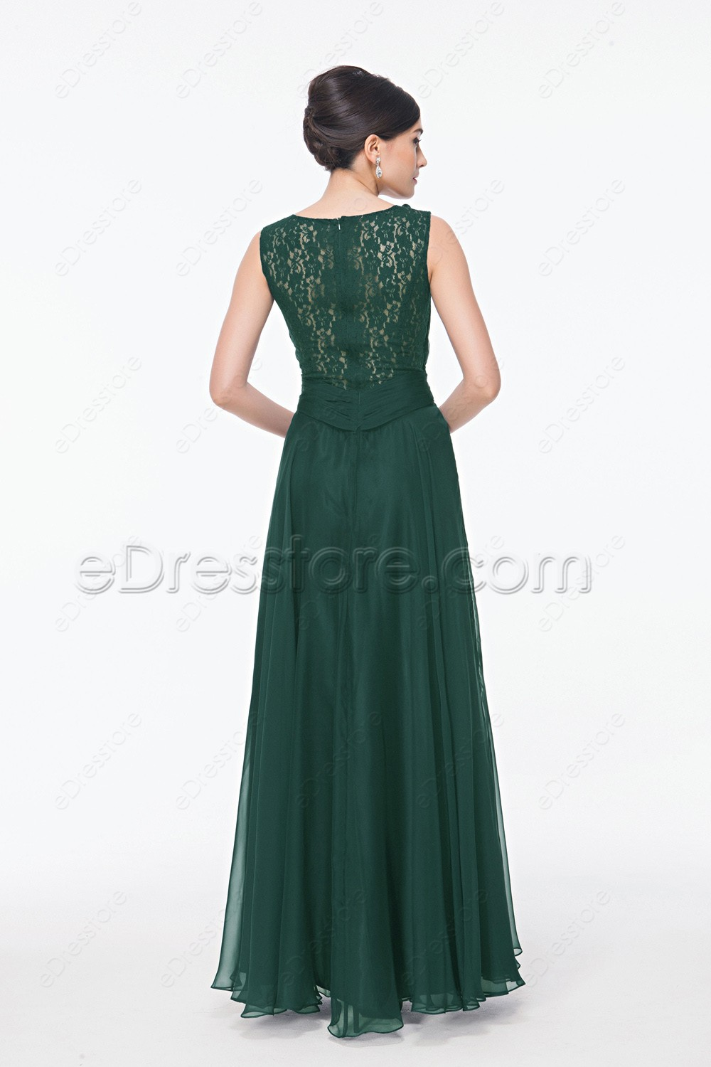 Backless Forest Green Long Formal Dresses