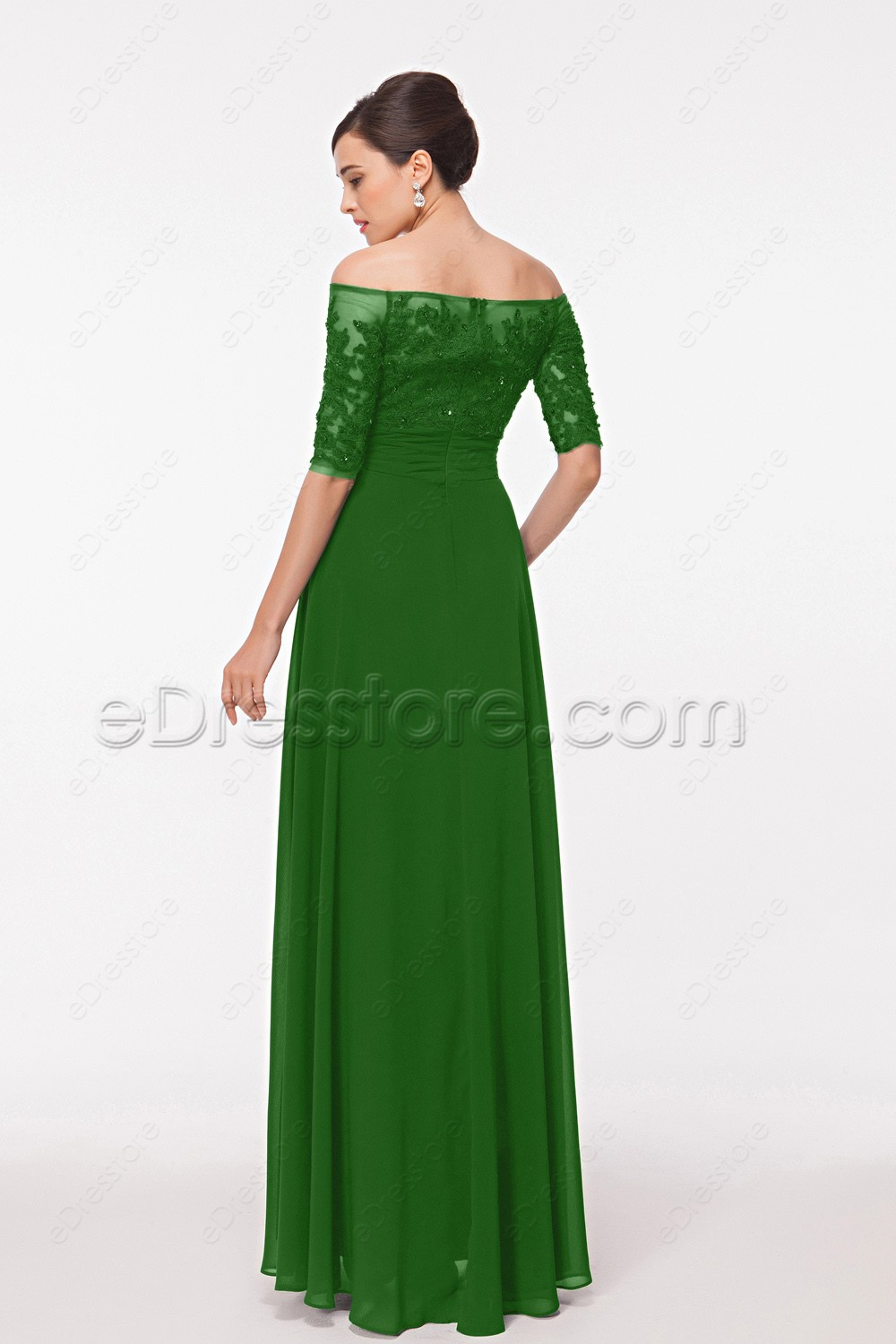 Off The Shoulder Modest Emerald Green Formal Dresses With