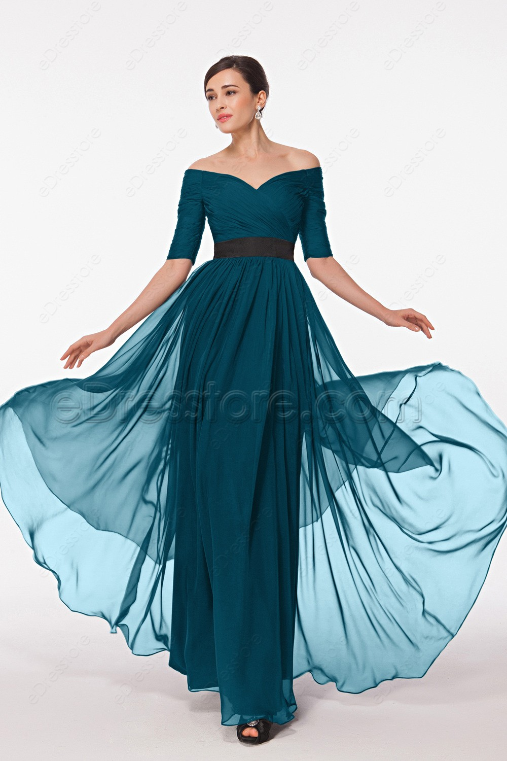 Modest 1 2 Sleeves Teal Prom Dress Off The Shoulder