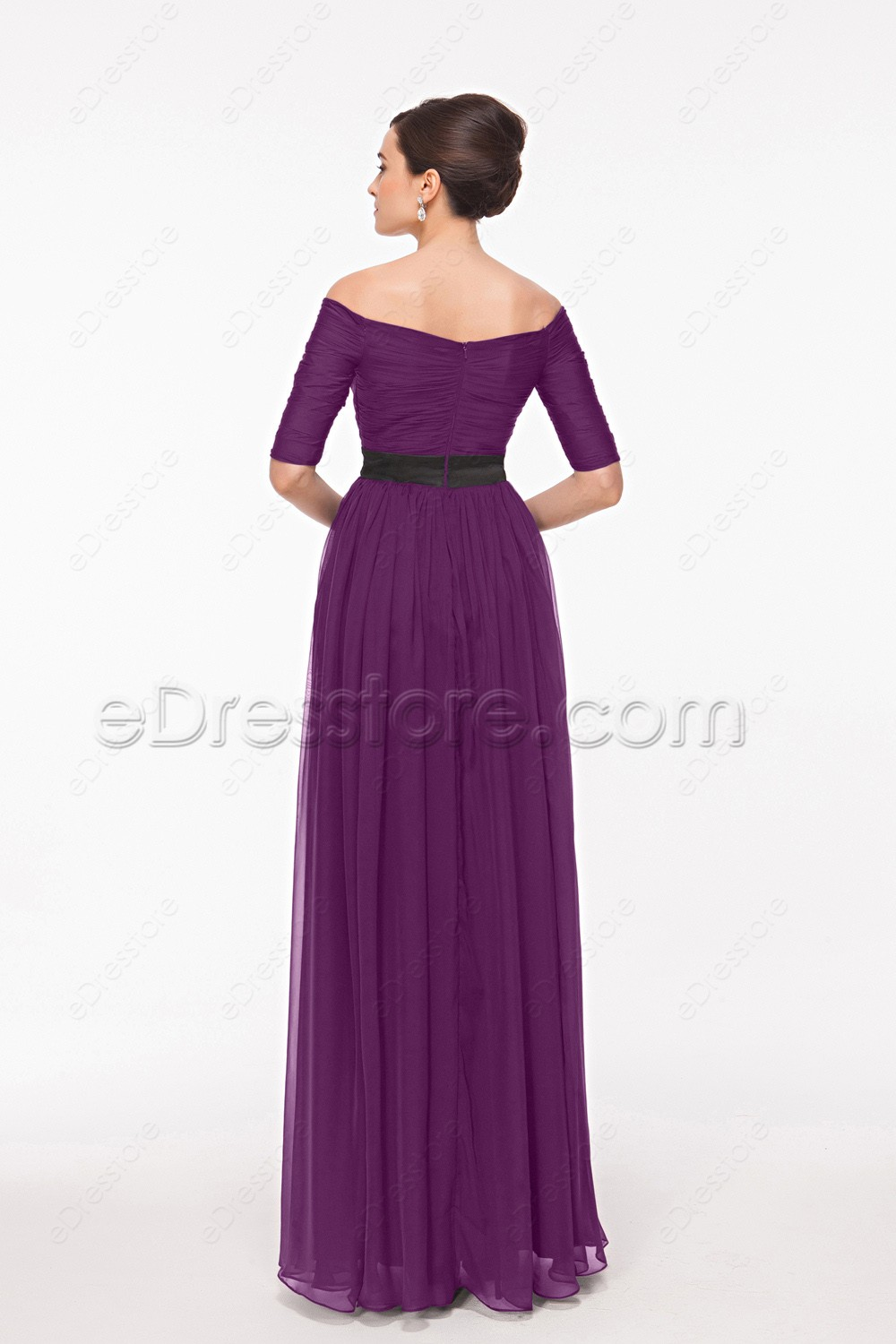 Modest magenta maid of honor dresses bridesmaid dresses for Maid of honor wedding dresses