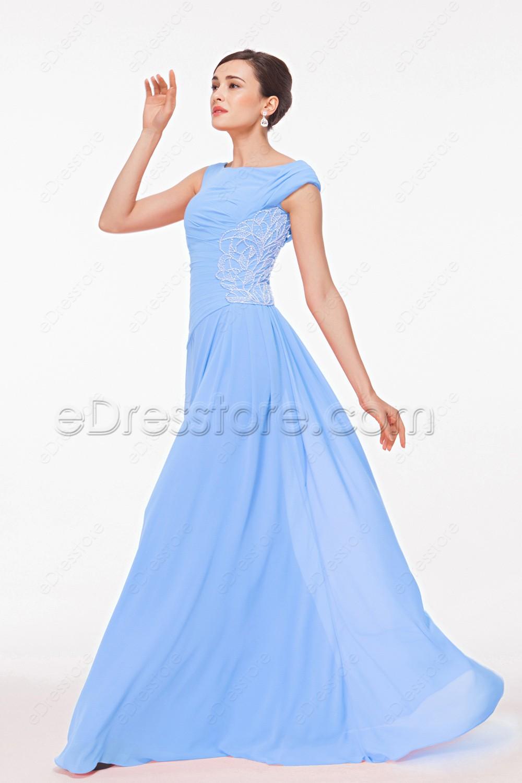 Light Blue Modest Prom Dresses Long