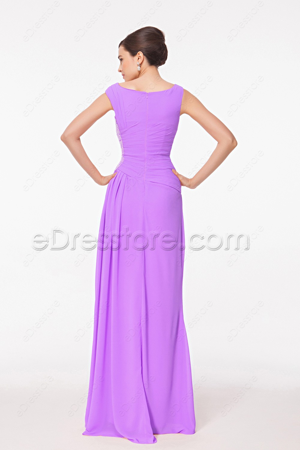 Modest orchid bridesmaid dresses maid of honor dresses for Maid of honor wedding dresses