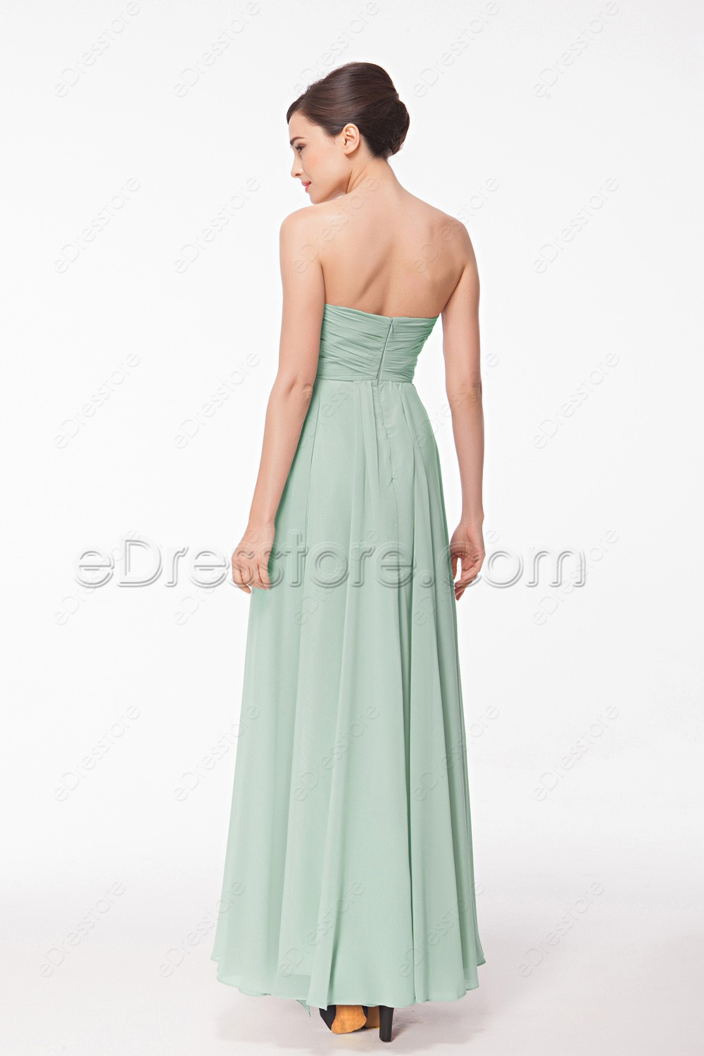 Sweetheart pastel green bridesmaid dresses for Pastel green wedding dress