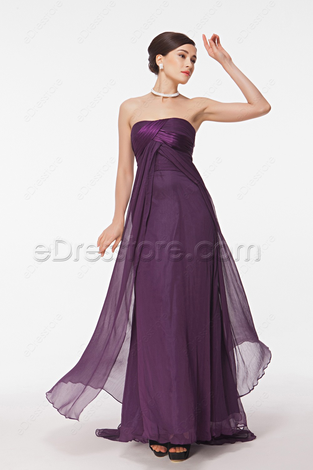 Purple maid of honor dresses long bridesmaid dresses for Maid of honor wedding dresses