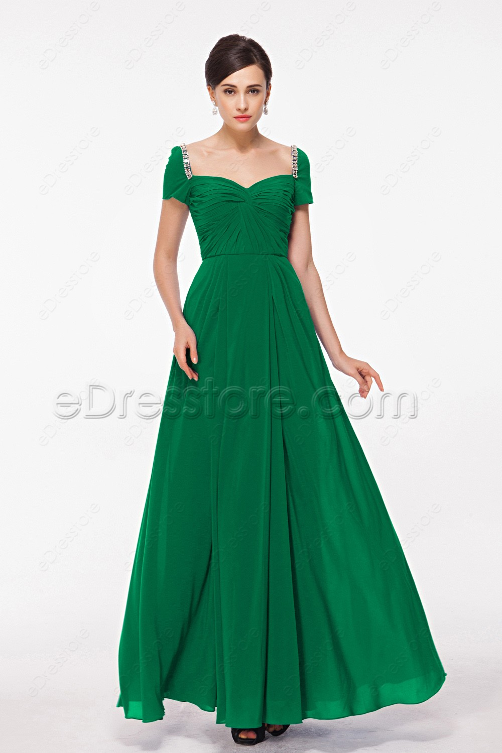 modest emerald green evening dress with sleeves