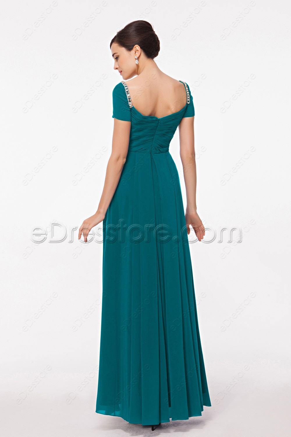 Modest Teal Prom Dresses With Sleeves