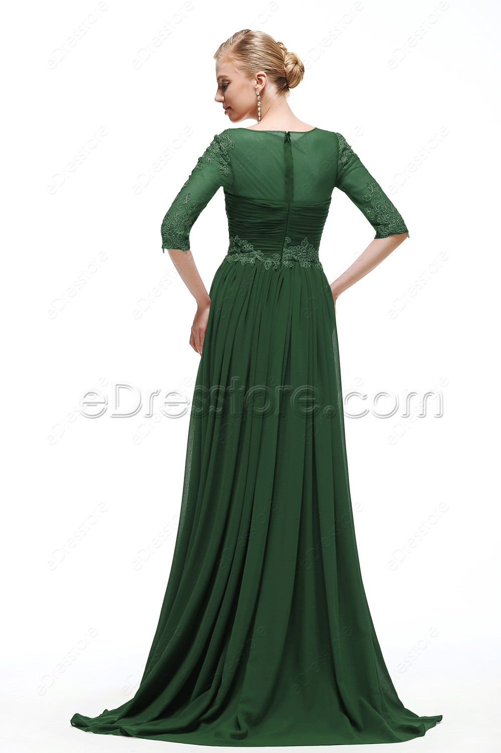 Forest Green Modest Bridesmaid Dresses with Sleeves