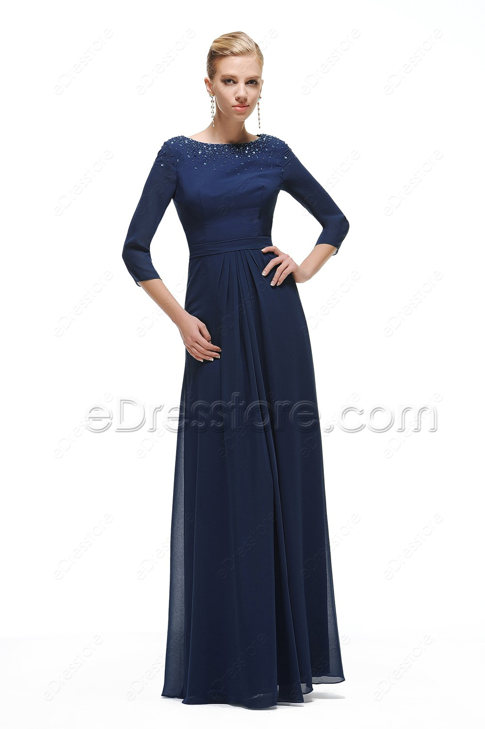 Navy Blue Modest Prom Dress With Sleeves Beaded Neckline