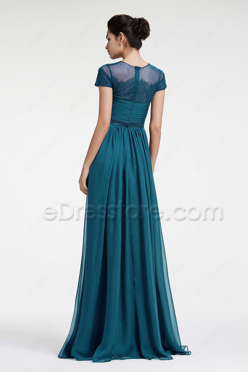 Teal maid of honor dresses with sleeves bridesmaid dresses for Maid of honor wedding dresses