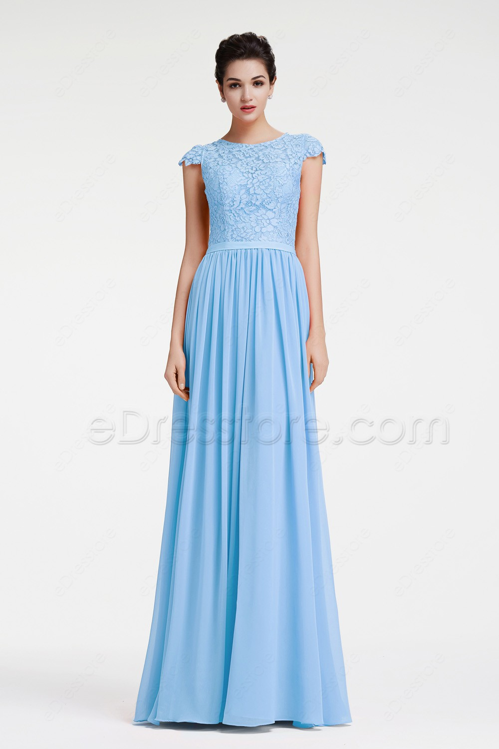 Modest ice blue lace prom dress with cap sleeves for Ice blue wedding dress