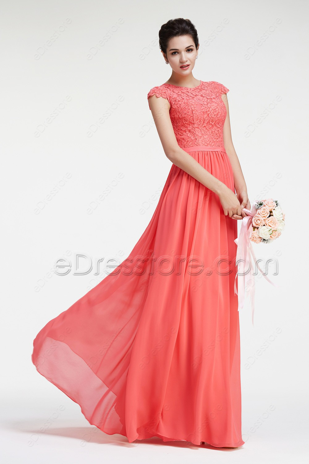 Lace chiffon modest coral bridesmaid dresses cap sleeves for Coral wedding bridesmaid dresses