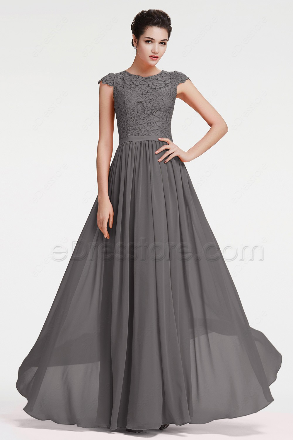 Modest charcoal grey bridesmaid dresses cap sleeves for Gray dresses to wear to a wedding