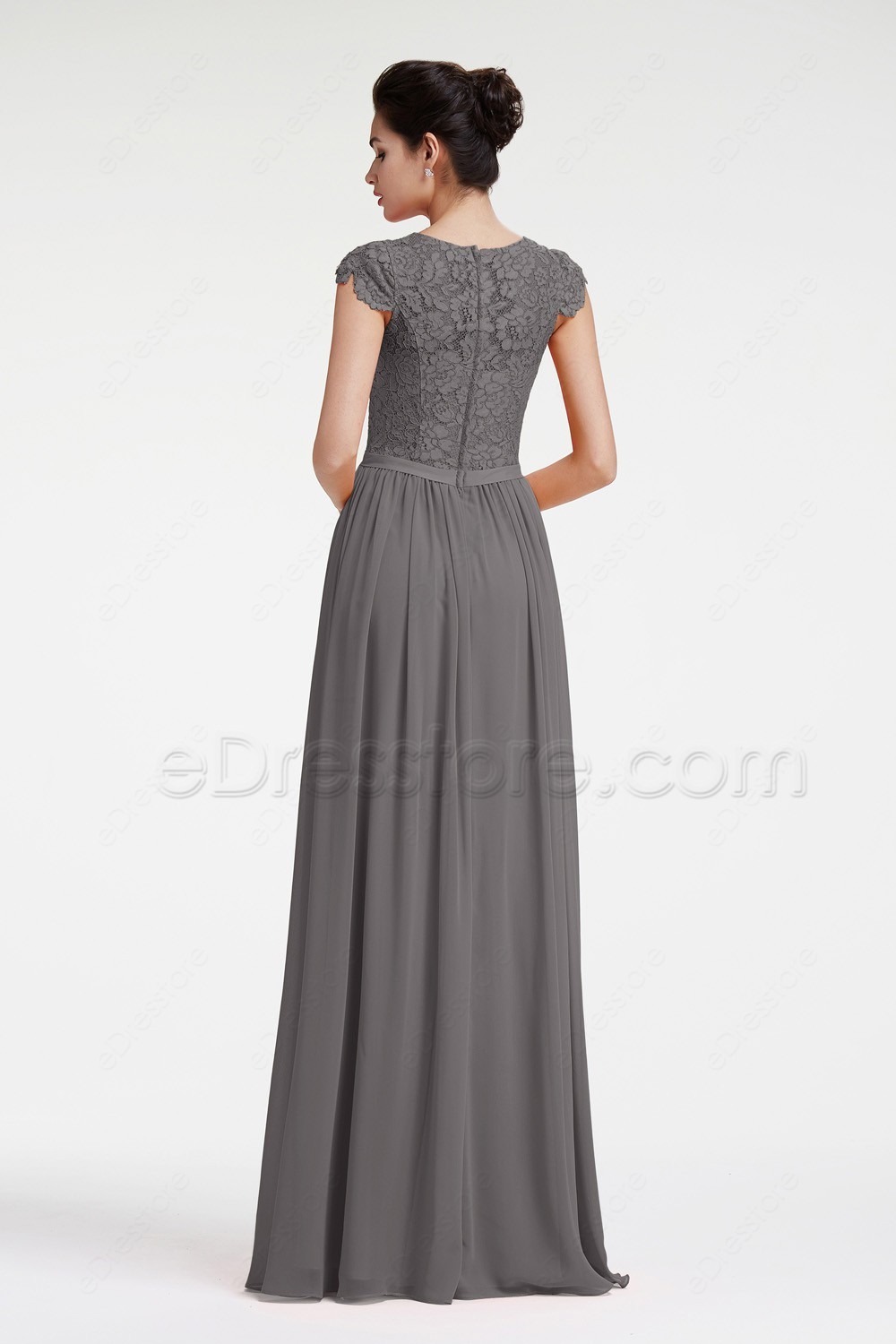 Modest charcoal grey bridesmaid dresses cap sleeves this is a made to order item in order to get a better fit lease take your measurements around bust waist and hip and choose your size from our size ombrellifo Image collections