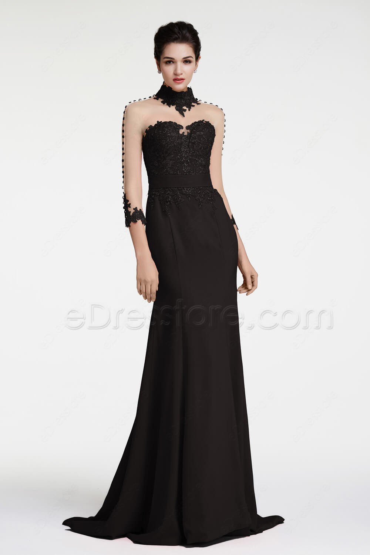 black backless mermaid evening dresses long sleeves