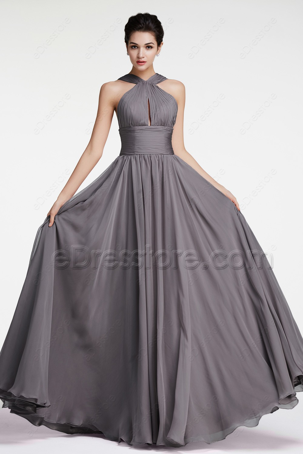 Halter charcoal bridesmaid dresses for Charcoal dresses for weddings