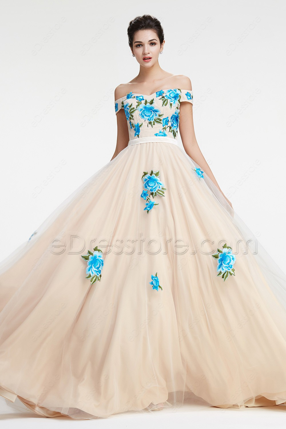 Off the Shoulder Ball Gown Prom Dress with Embroidery