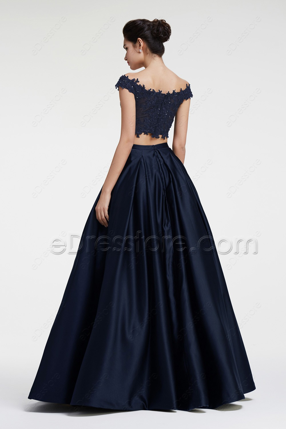 Navy Blue Off The Shoulder Ball Gown 2 Piece Prom Dress