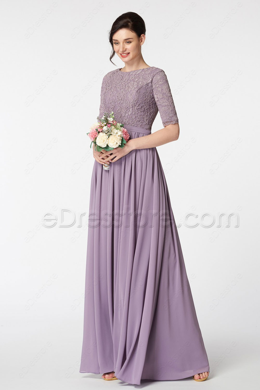 Modest lace coral bridesmaid dresses with sleeves wisteria purple modest bridesmaid dress with elbow sleeves ombrellifo Choice Image