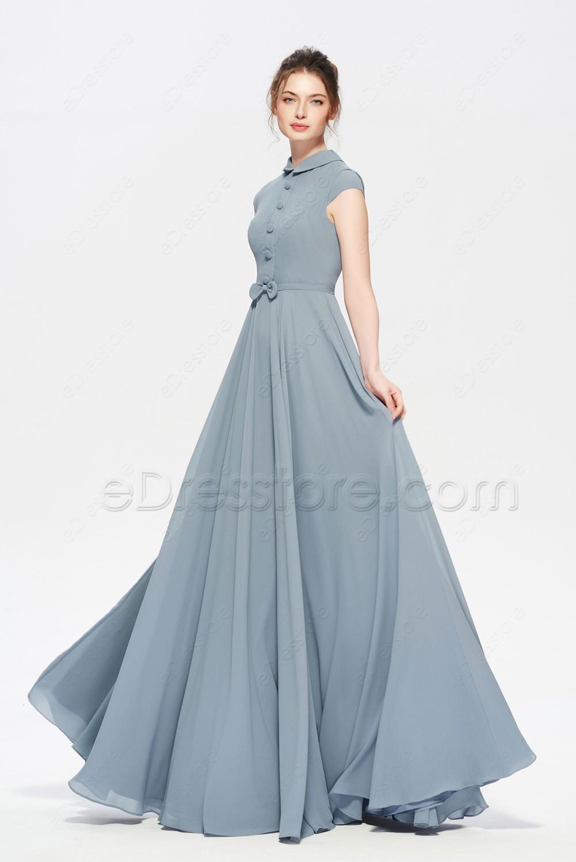 Cute navy bridesmaid dresses under 100 images wedding ideas modest dusty blue bridesmaid dress cap sleeves ombrellifo Gallery