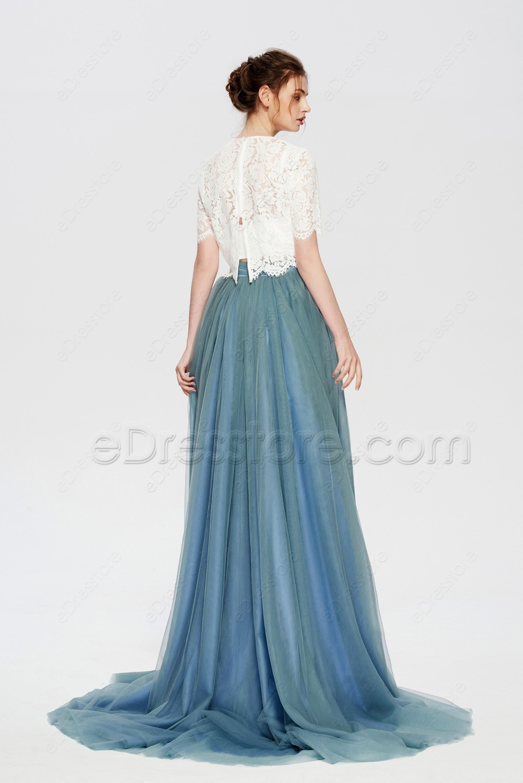 Dusty Blue Modest Bridesmaid Dresses With Bolero