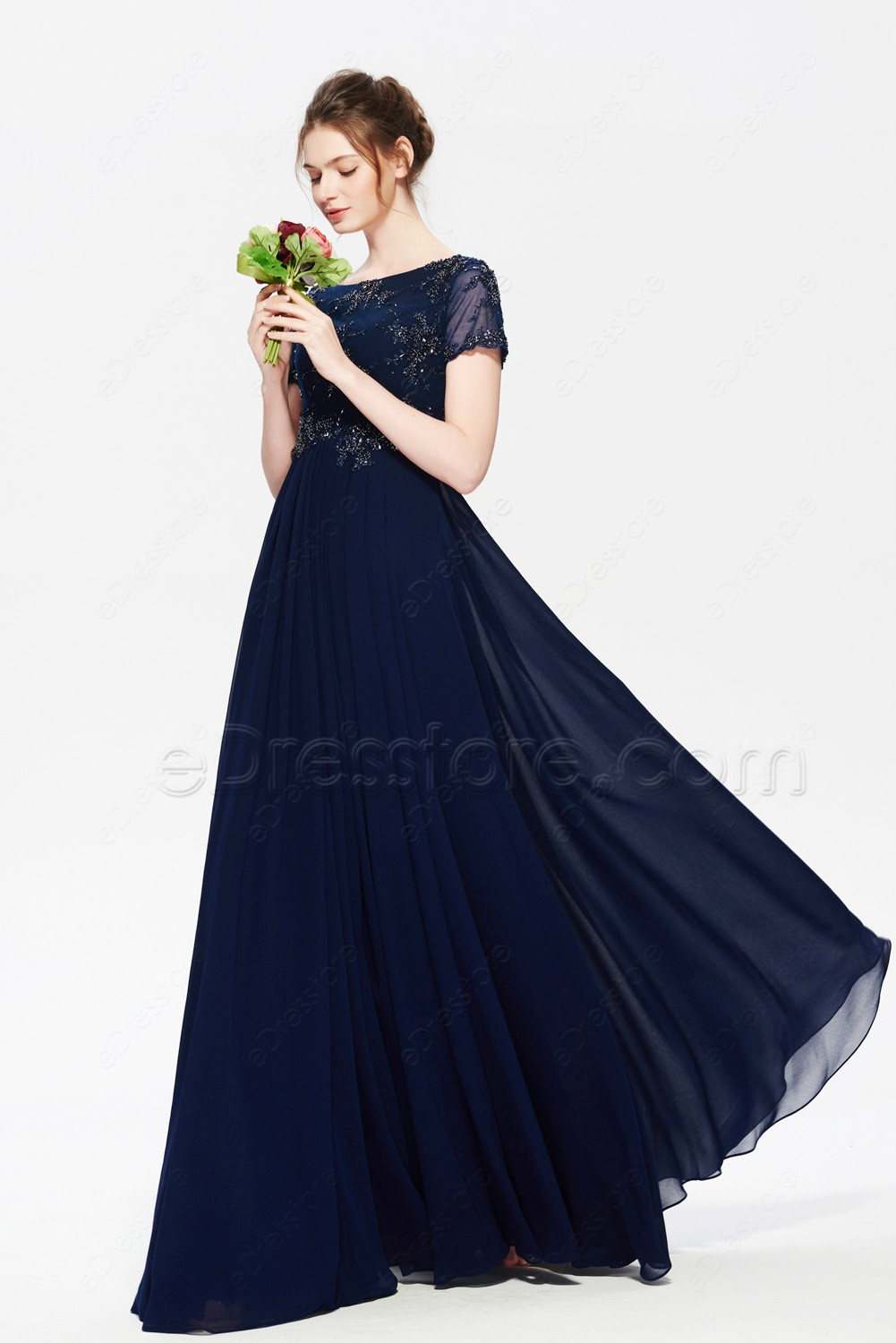 navy blue modest bridesmaid dresses with sleeves maid of