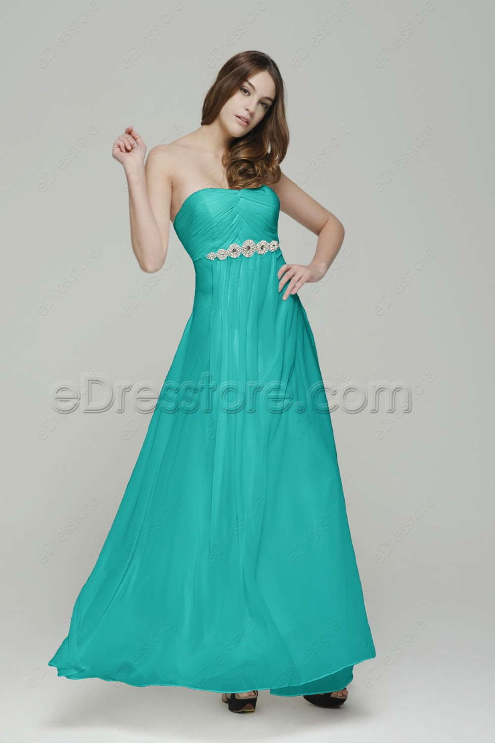 Jade green long bridesmaid dresses maid of honor dresses for Maid of honor wedding dresses